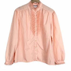VINTAGE Blouse Lace Ruffle Long Sleeve Button Up